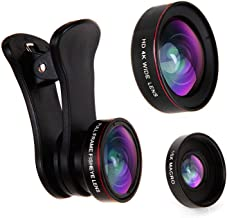 Empire of Electronics Phone Camera Lens Kit for iPhone, Samsung & Cell Phones | 3 in 1 Fisheye Lens, Wide Angle Lens and Macro Lens Attachment | Travel Size plus Accessories