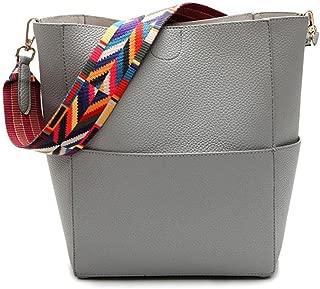JIARUO Designer Bucket bag Women Leather Wide Strap Shoulder bag Handbag