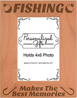 ThisWear Fishing Frame Fishing Makes The Best Memories Fishing Gift Wood Engraved 4x6 Portrait Picture Frame