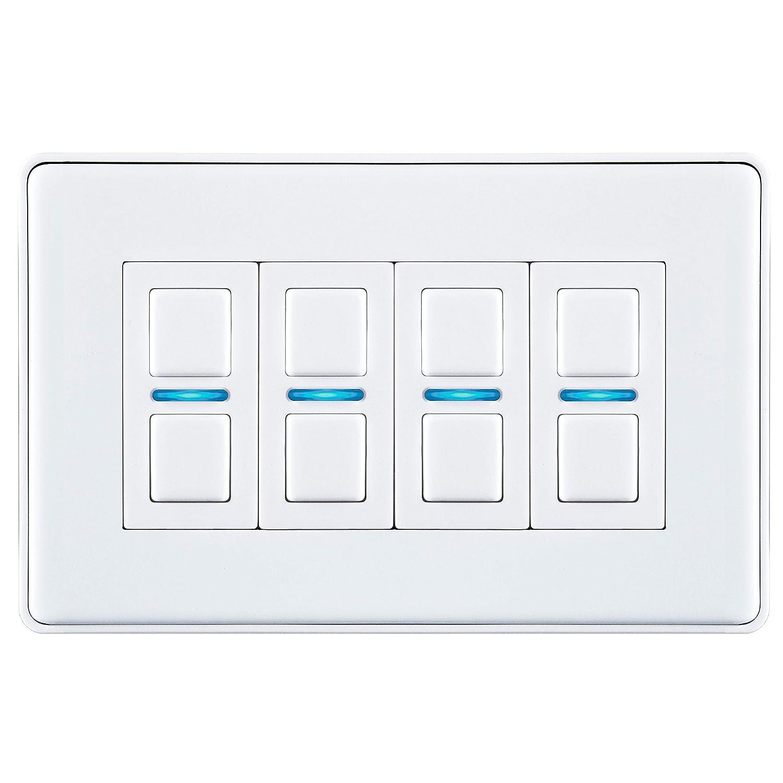L24WH Lightwave LightwaveRF Smart Series Dimmer Switch 4 Gang White Metal
