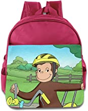 Funny Curious George Rides A Bike School Bag Backpack Bag For Girls, Boys, Kids, Students-Pink