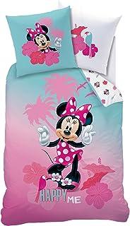 CTI Juego de ropa de cama infantil de Minnie Mouse, para niñas, color turquesa y rosa ☆ Disney Minnie Mouse Happy ME - 1 funda de almohada de 80 x 80 cm + 1 funda nórdica de 135 x 200 cm