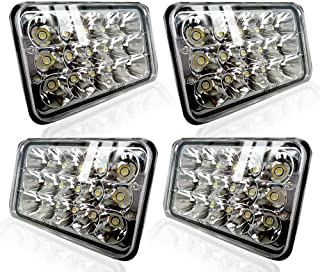TURBOSII DOT Approved 4X6 LED Headlight Assemblies Hi/Lo Sealed Beam Replace H4651 H4656 Bulb Headlamps for KW Kenworth T600 W900 T800 Truck Peterbilt 379 Chevy S10 Blazer RV Freightliner Semi 4PCS