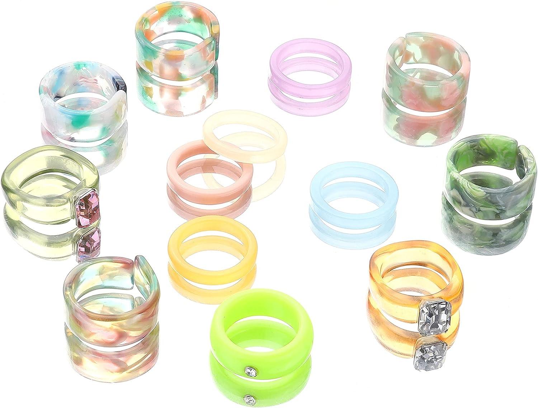 LOYALLOOK 10-13PCS Resin Rings for Women Retro Chunky Acrylic Rings Colorful Rhinestone Transparent Rings Resin Finger Rings