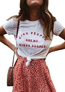 Kind People are My Kinda People Woman Letter Printed T-Shirt Funny Short Sleeve Crew Neck Tee Tops