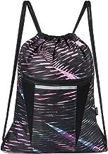 Saigain Gym Sack Large Drawstring Backpack Sport Bag Sackpack with Zipper for Men & Women,Stripe Static Pink