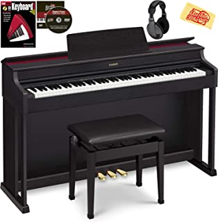 $1499 Get Casio AP-470 Celviano Digital Cabinet Piano - Black Bundle with Furniture Bench, Headphones, Online Lessons, Austin Bazaar Instructional DVD, and Polishing Cloth