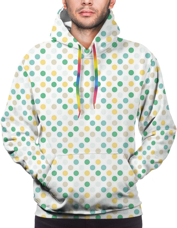Men's Hoodies Sweatshirts,Continuous Geometric Simple Ornament with Tiny Stars Pastel Tones Illustration