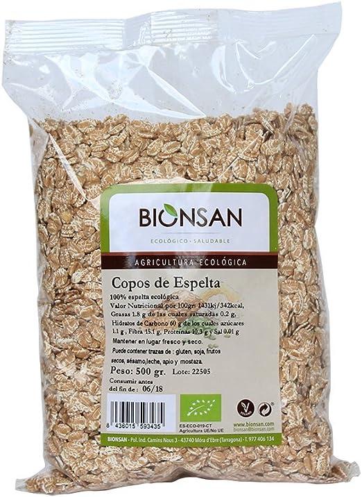Bionsan Copos de Trigo Espelta Ecológica | 6 Paquetes de 500 gr | Total: 3000 gr