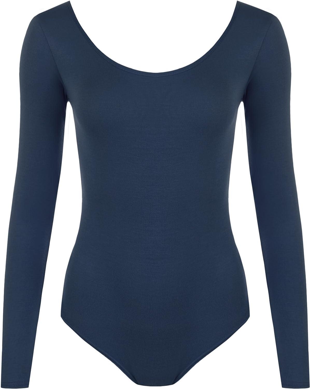 WearAll Women's Bodysuit Ladies Plus Size Leotard Top - Navy Blue - US 12-14 (UK 16-18)