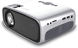 Philips NeoPix Easy (NPX440) Mini and Transportable Projector, 1080p, 2,600 Led Lumens, 80 Inch Display, Built-in Media Player, HDMI, USB, microSD, 3.5mm Audio Out Headphone Jack