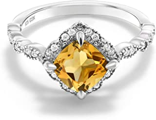 Gem Stone King Yellow Citrine 925 Platinum Plated Sterling Silver Women's Ring (1.74 Cttw Cushion Gemstone Birthstone Available in size 5, 6, 7, 8, 9)