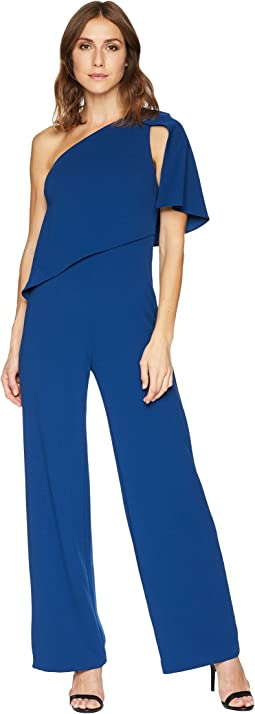 One Shoulder Knit Crepe Jumpsuit