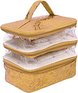 Heart Home 3 Layer Cosmetic Bag Travel Toiletry Cosmetic Makeup Bag Organizer (Gold)