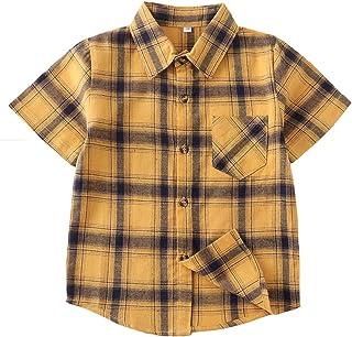 Boys Button Down Short Sleeve Shirts Toddler Buffalo Plaid Shirt with Pocket School Uniform Dress Shirt