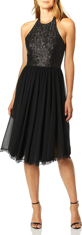 Dress the Population Women's Tatiana Sequin Halter Fit & Flare Midi Dress, Black/Black, s