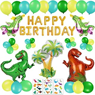 63 PACK Dinosaur Birthday Party Decorations for Kids - 3D Gold Happy Birthday Banner, Colorful Dino Balloons, Cute Cartoon Tattoos | Aster Birthday Supplies Set for 1st 2nd 3rd 4-12 year boys