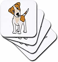3dRose CST_200198_2 Funny Jack Russell Terrier Original Art Cartoon Soft Coasters, Set of 8