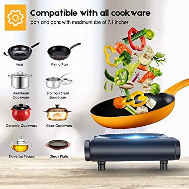 Cusimax Portable Electric Stove, 1200W Infrared Single Burner Heat-up In Seconds, 7 Inch Ceramic Glass Single Hot Plate Cookt