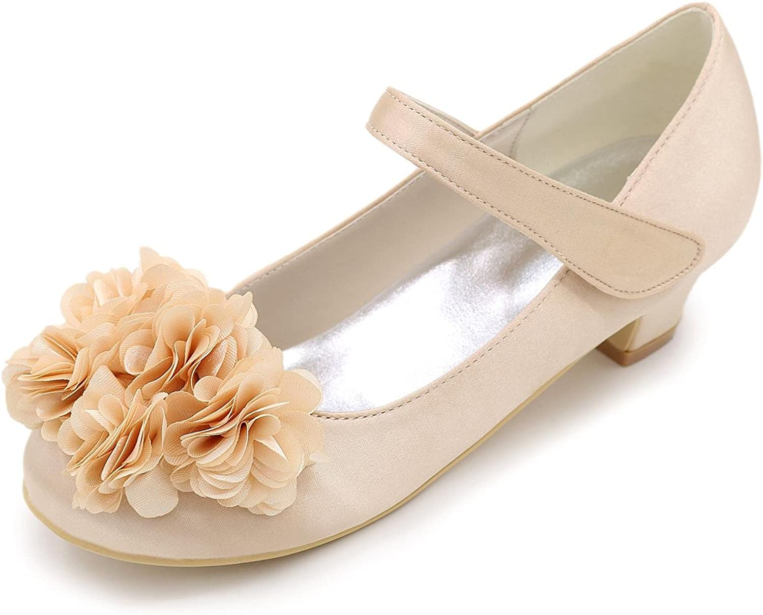 L@YC Girls' Heels Satin Spring Summer Fall Winter Casual Outdoor Flower Low Heel White