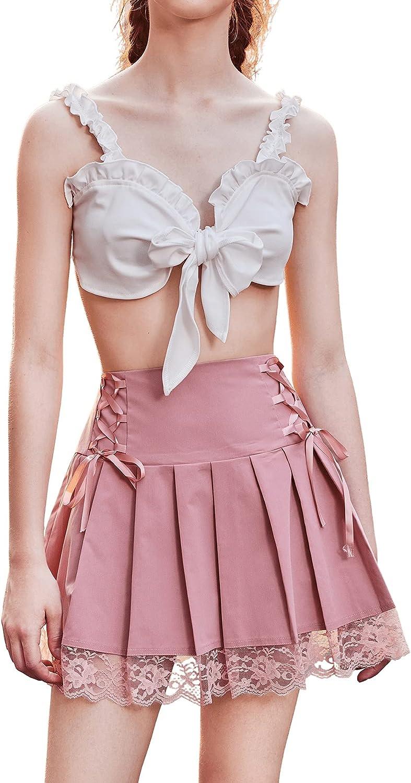 SweatyRocks Women's High Waist Lace Trim Pleated Lace Up A Line Mini Short Skirt