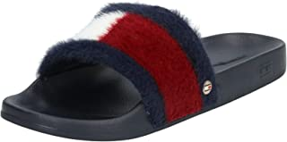 Tommy Hilfiger TH FLAG FURRY POOL SLIDE Women's Fashion Sandals