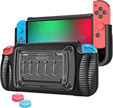 SZMDLX Dockable Case for Nintendo Switch, TPU Grip Protective Cover Case for Nintendo Switch with Adjustable Stand, 7 Game Card Slots, 2 Thumb Grips Caps (Grey)