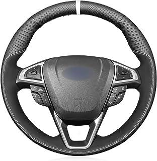 MEWANT Lenkradbezug Lenkradhülle Handgenähte Customized aus Echtleder & Wildleder Lenkrad Wrap für Ford Mondeo 2014 2020 / Edge 2015 2020 / Galaxy 2015 2020 / S Max 2015 2020