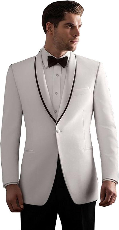 Fenghuavip Elegant White Groom Wedding Tuxedos Suits 18 Pieces at ...