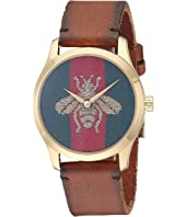 Gucci - Yellow Gold PVD Case, Nylon Dial with Embroidered Gold Bee, Brown Leather Strap