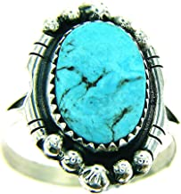 Made in USA by Navajo Artist Rita Dawes Sterling Silver Women's Ring with one Free Form Oval Kingman Morenci Turquoise.