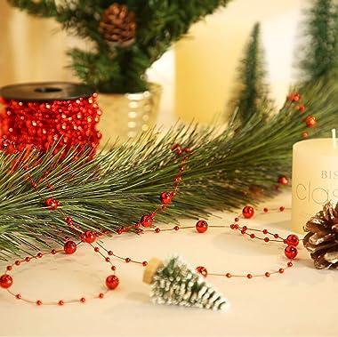 Pangda 65.6 Feet Christmas Tree Beads Garland Plastic Pearl Strands Chain for Christmas Wedding Decoration (Red)