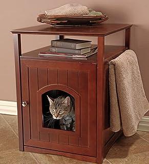 Clever and Modern Hidden Litter Box End Table Furniture Walnut - Washroom Litter Box Cover Walnut