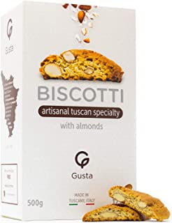 Gusta Authentic Biscotti Made in Tuscany, Italy - Almond Italian Cookies - Original Two Bites Size - All Natural Ingredients - Fresh & Genuine Italian Dessert Treats - 17.64oz