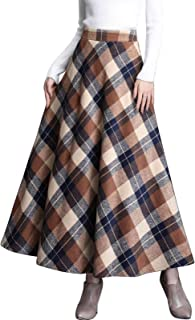 Flygo Women's Winter Warm Wool Plaid A-Line Pleated Maxi Long Skirt Back Elastic