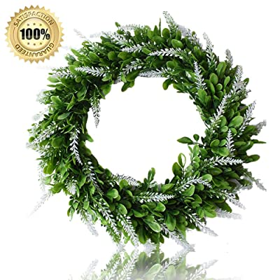 """LASPERAL Artificial Lavender Wreath 15"""" Green F..."""