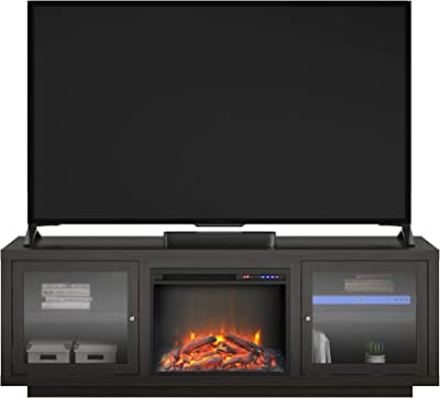 """Ameriwood Home Bailey Fireplace 75"""", Espresso TV Stand,"""