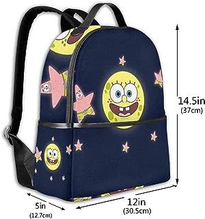 Classic School Backpack Spongebob with Patrick Star Unisex College Schoolbag Travel Bookbag Black
