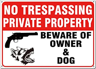 ICObuty No Trespassing Private Property Sign Gun Dog Beware of Owner and Dog Sign Aluminum Sign 10x14 .04 Inch UV Printed Reflective