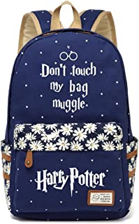 JUSTRHICE Korean Casual Canvas Backpack Laptop Bookbag School Bag Daypack for Harry Potter Cosplay (Dark Blue 4)
