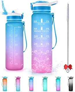 32oz Sports Bottle, Motivational Water Bottle with Time Marker, Straw and Hook BPA Free Portable Leak-proof Big Bottle Provide Sufficient Water for All Day Fitness and Outdoor Sports