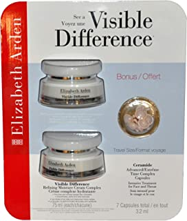 Elizabeth Visible Difference Refining Moisture Cream Complex Double Value Pack (2 x 2.5oz) with Bonus Travel Size Ceramide Advanced/Extreme Time Complex Capsules