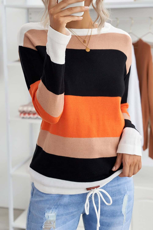 Sidefeel Women Striped Long Sleeve Drawstring Hem Color Block Knit Pullover Sweater Tops