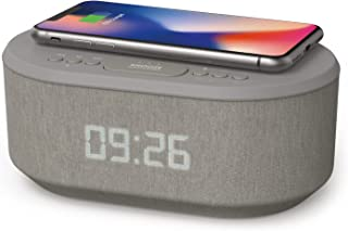 Bedside Wireless Charging Non Ticking Radio Alarm Clock with Dimmable LED Display - Mains Powered Dual Alarm Clock with US...