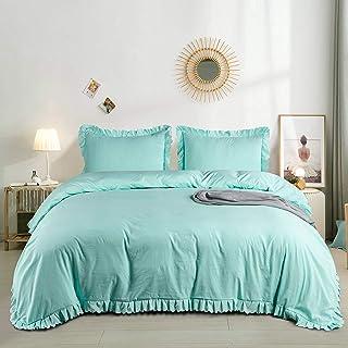 DuShow Turquoise Double Duvet Cover Set,Solid Blue Double Duvet Cover Set With Ruffle Fringe Pattern,3 Pieces Bedding Set ...