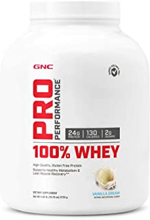 GNC Pro Performance 100 Percent Whey Protein Powder, Vanilla Cream, 4.8 Pound