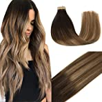 Googoo 14inch Human Hair Extensions Tape in Ombre Dark Brown to Light Brown and Ash Blonde Tape in Natural Hair Extensions Skin Weft 50g 20pcs