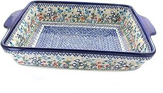 Blue Rose Polish Pottery Garden of Eden Baker with Handles