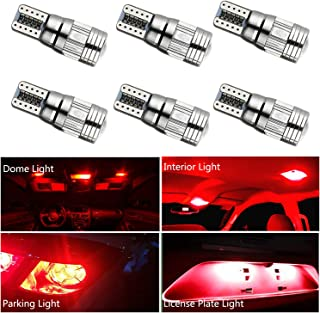 HOCOLO 6x T10 198 194 168 912 921 W5W 2825 Red Color Color High Power LED Bulbs For Interior Dome/Map/License Plate/Parking/Door/Trunk Lights (6pcs T10 6-SMD Canbus Error Free, Red)