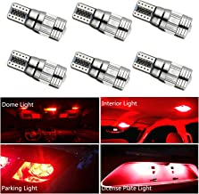 HOCOLO T10 198 194 168 912 921 W5W 2825 White Amber/Yellow Blue Green Red Ice Blue Color For Interior Dome/Map/License Plate/Parking/Door/Trunk Lights (6pcs T10 6-SMD Canbus Error Free, Red)
